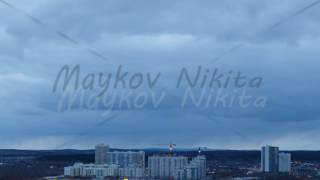 New residential high-rise buildings. SunSet. Ekaterinburg, Russia. Time Lapse