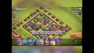Estrategia de ataque Clash of clans Tropas ayuntamiento 8!!