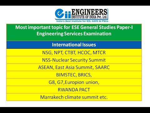 ESE-IES General Studies : International Issues Social, Economical, Industrial
