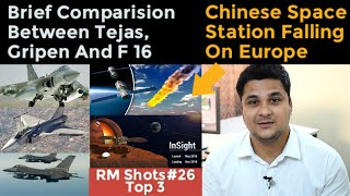 Top 3  Chinese Space Station Falling On Europe, Tejas,Gripen,F16 Comparision, NASA Insight Mission