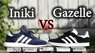 on sale b384c 0c6cd Adidas Iniki Vs Gazelle  Whats the Difference On-Feet and Close Up  Comparison