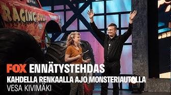 ENNÄTYSTEHDAS I Vesa Kivimäki – Kahdella renkaalla ajo monsteriautolla I FOX Suomi