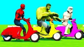 FARBE MOTORRÄDER SPRINGEN Spiderman Cars Superhelden Comic-3D-Kinder - & Kinder-Kinderreime