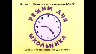 Диафильм Режим дня школьника /по природоведению для 2 класса/
