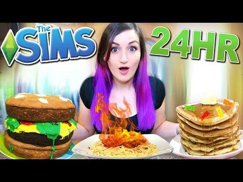24 HOUR Eating As My Sim Challenge