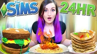 24 HOUR Eating As My Sim Challenge