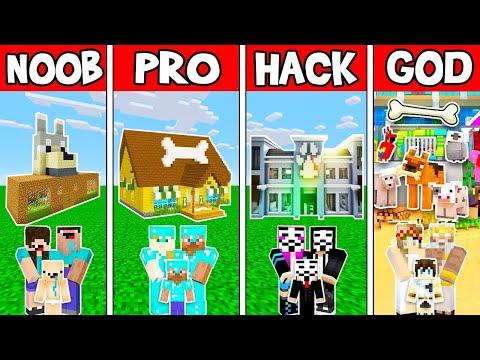 Minecraft: FAMILY ANIMAL PET SHOP HOUSE BUILD CHALLENGE - NOOB Vs PRO Vs HACKER Vs GOD In Minecraft