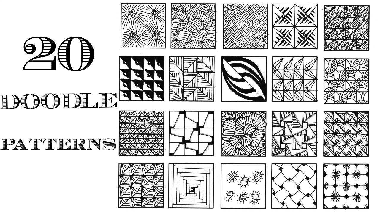 Easy 20 zentangle patterns doodle patterns youtube for Drawing patterns for beginners
