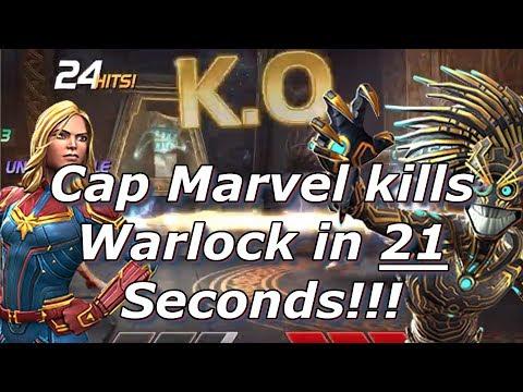 Captain Marvel Destroys Warlock!!!  Marvel Contest of Champions