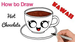 How to Draw Hot Chocolate Mug Cute Cartoon Drink Drawing