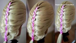 Легкая причёска Подробный видео урок  Коса с лентами Колосок с лентой