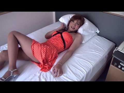 Crossdresser Kyoko, Orange polka dot minidress video (HD video)