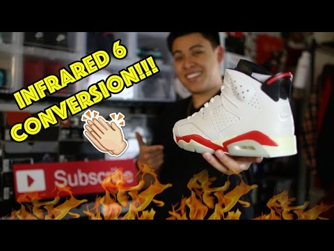 1991 AIR JORDAN 'INFRARED' 6 CONVERSION CUSTOM TIME-LAPSE!!!