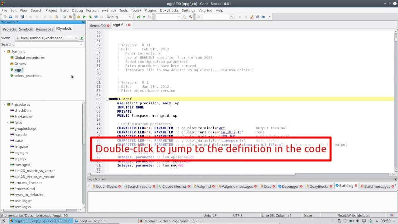 Compilation of existing Fortran code with Code::Blocks IDE