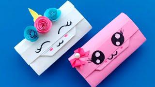 How To Make Paper gift bag? How To Make Paper Handbag / Origami Paper Bag Tutorial / School hacks