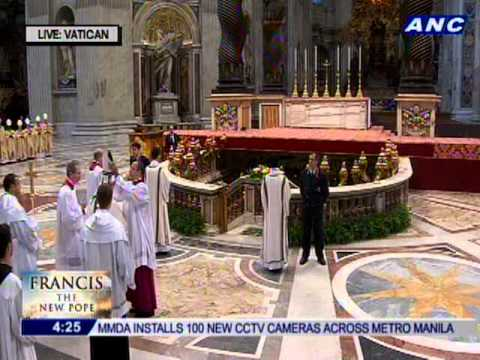 Pope Francis visiting the tomb of St. Peter. He will venerate the tomb.