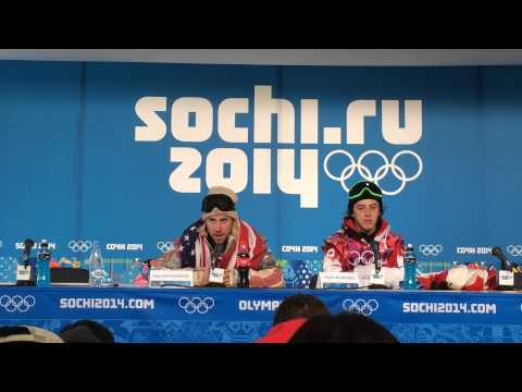 Sage Kotsenburg at the press conference after winning the first gold of the 2014 Games