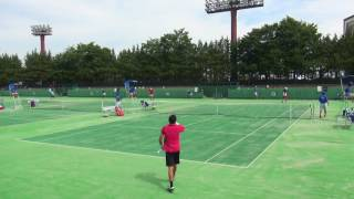 5日 テニス男子シングルス 13コート 広島なぎさ×佐賀西 1回戦 1