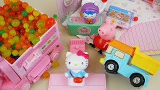 Hello Kitty mini shop and orbeez car toys with baby doll play