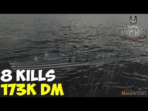 World Of WarShips | Farragut | 8 KILLS | 173K Damage -  Replay Gameplay 4K 60 Fps