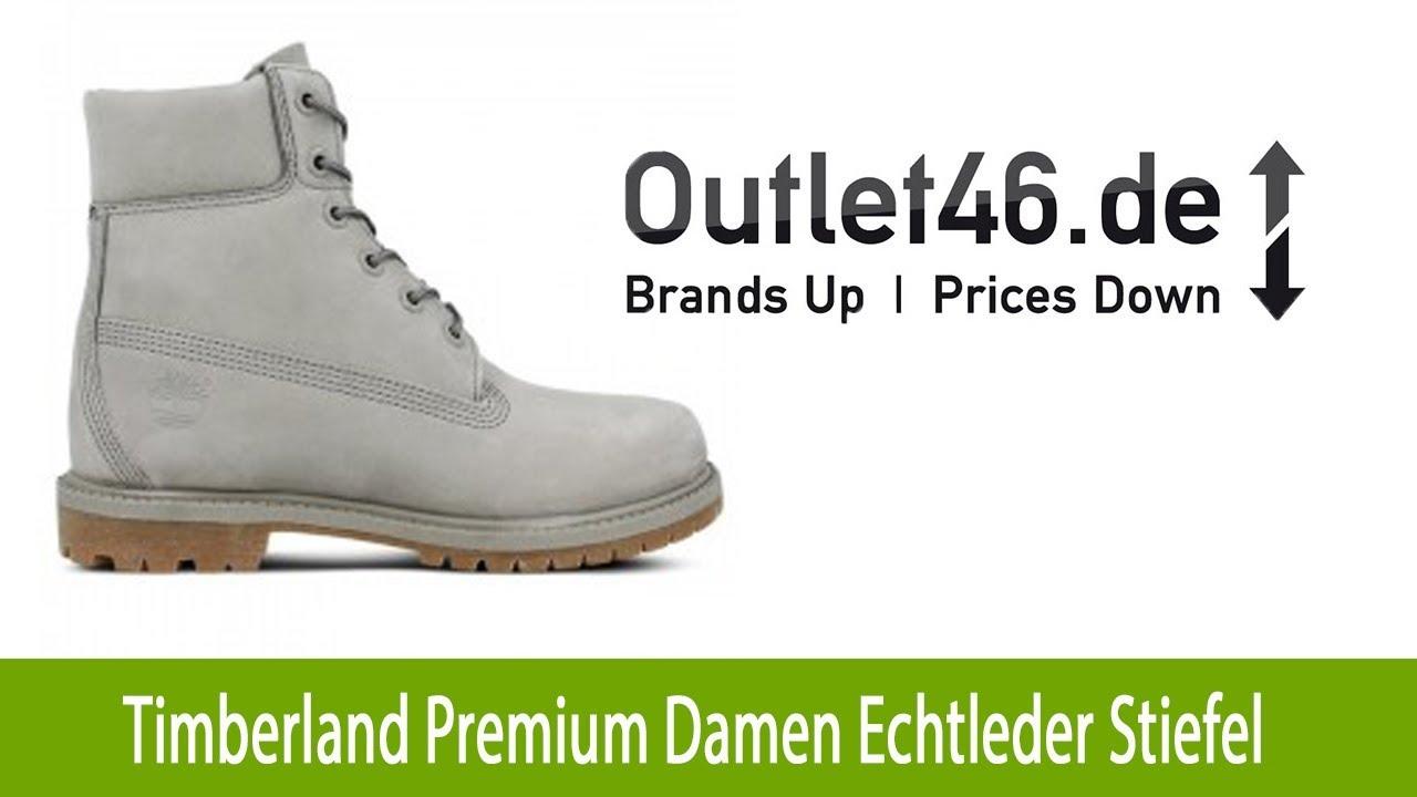 Timberland Premium 6 Inch Damen Echtleder Stiefel kaufen Grau |