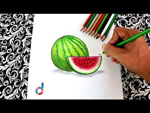 C mo dibujar y pintar una sandia paso a paso how to - Unas modelos para pintar ...