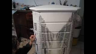 Asambienti - Italian Furniture Design - Mobili Dipinti A Mano Art - Painted Corner Cabinet