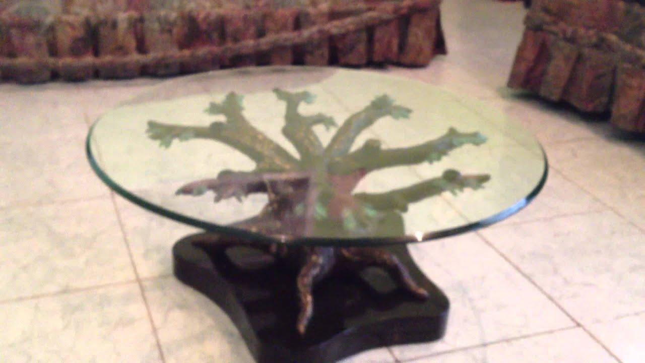 Mesa de centro en forma de rbol con changos nica youtube - Mesa centro de cristal ...