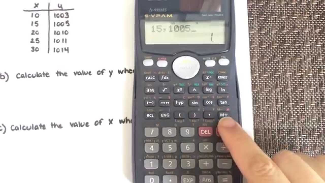 Linear Regression Using A Calculator Casio Fx 991ms Youtube