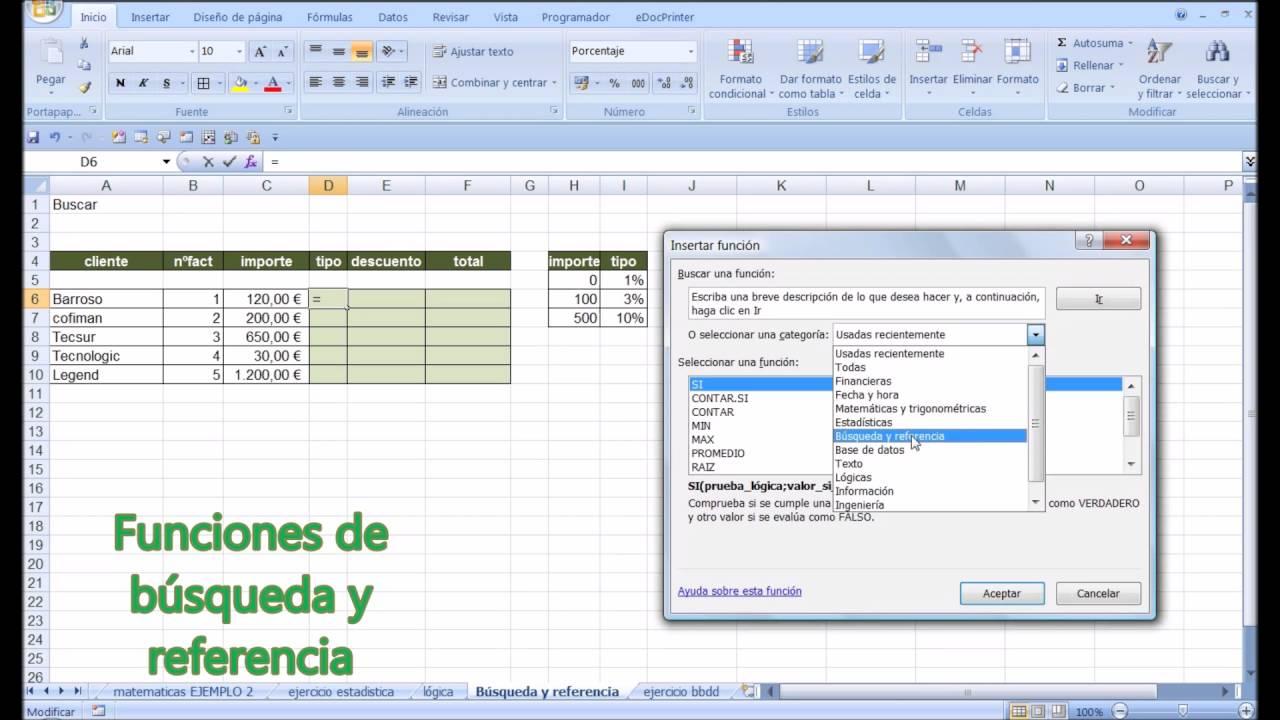 Curso de Excel medio. Funciones de búsqueda y referencia en Excel