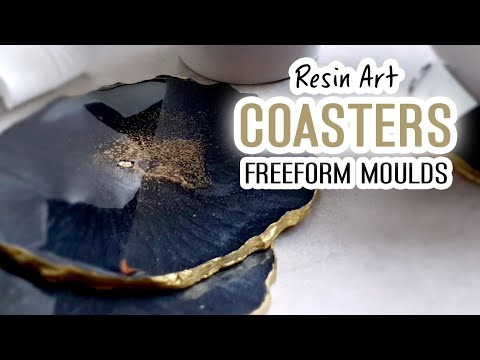Resin Art - Freeform Geode Coasters - Black and gold