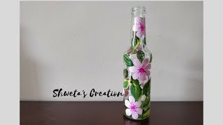 DIY Bottle Painting | How to paint on Wine Bottle | Best Out Of Waste