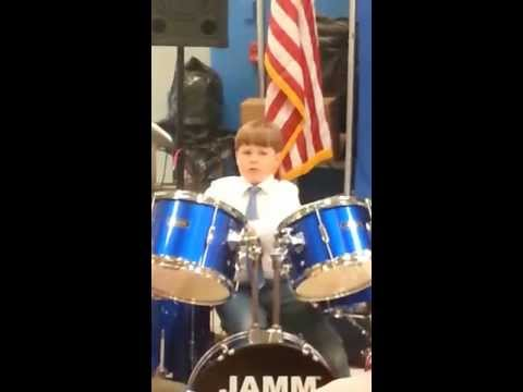 Jonah Coffey drumming at Talent Show at Holz Elementary School