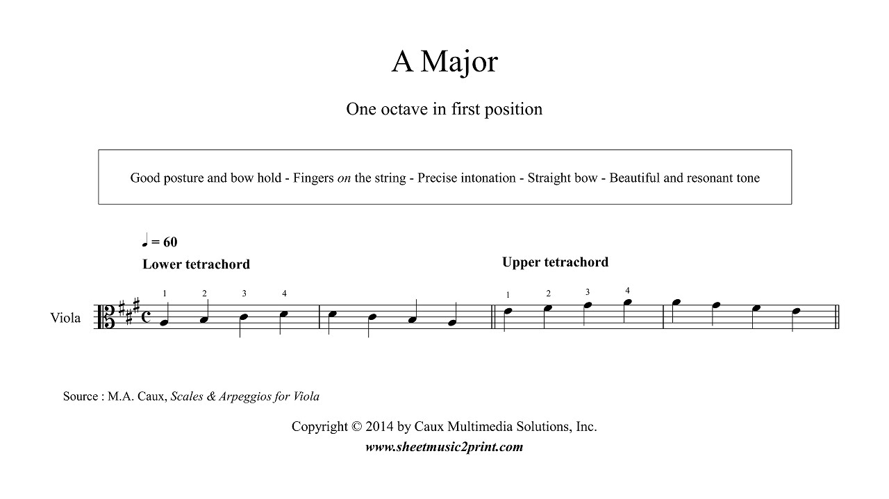 Viola : A Major Scale & Arpeggio - Grade 1 - YouTube