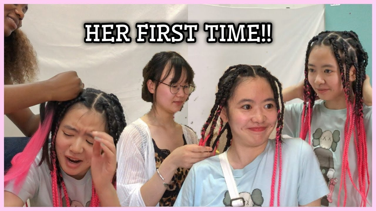 MY CHINESE FRIEND EXPERIENCES BRAIDS FOR THE FIRST TIME (shocking reactions)