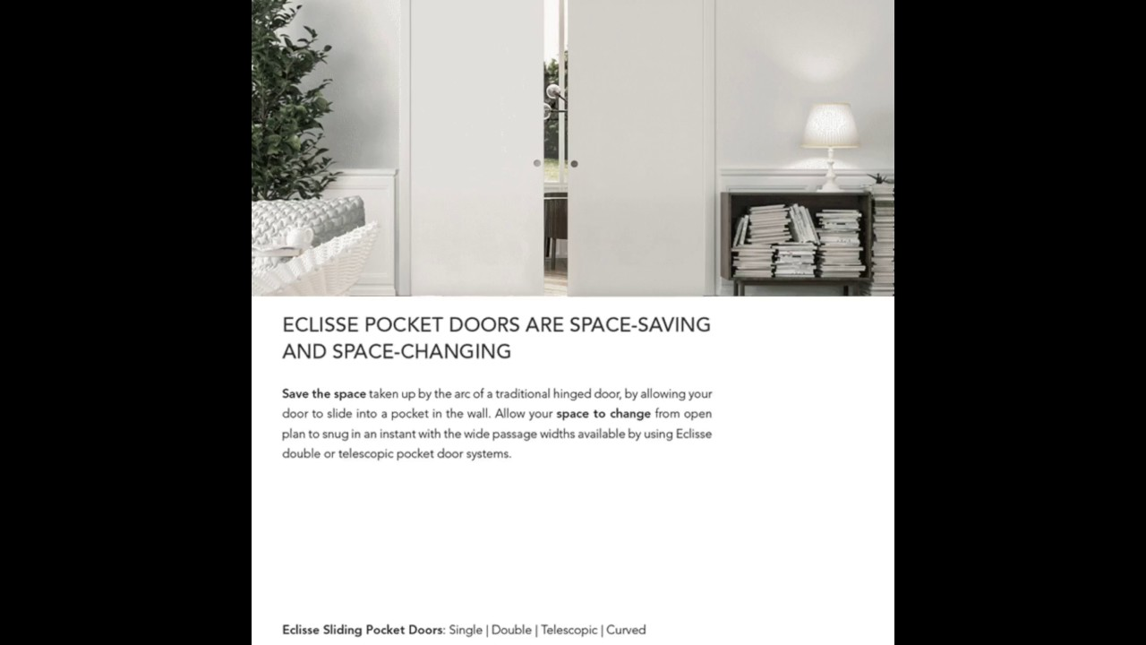 Eclisse Pocket Door Systems Space Saving and Space Changing & Eclisse Pocket Door Systems Space Saving and Space Changing - YouTube