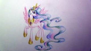 Как нарисовать принцессу Селестию(Привет всем! Меня зовут Галина, мне 10 лет. В этом видео я рисую пони - принцессу Селестию. Приятного просмотра..., 2015-03-08T20:44:48.000Z)