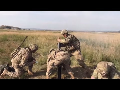 Live fire of U.S Marine Advance M252A1 81mm Mortar System.