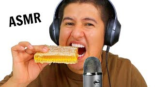I Tried ASMR. (Eating Raw Honeycomb, Slime, Floral Foam) Crunchy Sticky Sounds!)