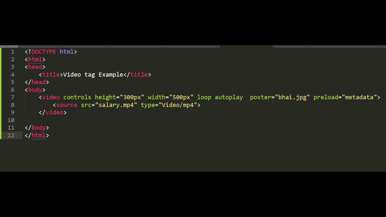 Html Video Tag Element Autoplay Loop Muted Poster Preload Attributes Youtube