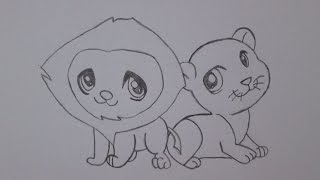 How to draw a lion and a lioness