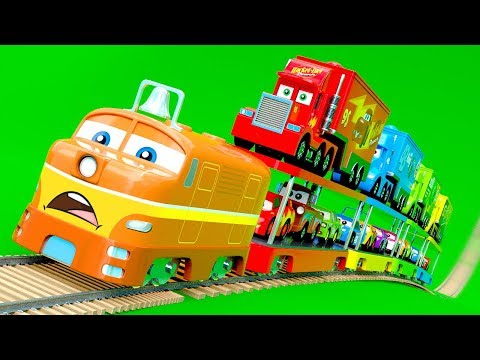 Superhero Train with Mack Truck Haulers and Car Friends Transportation