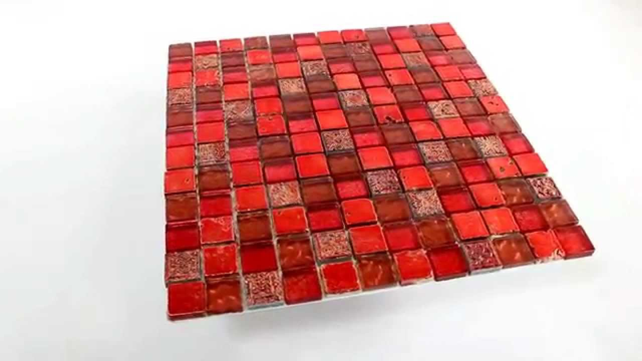 glas marmor mosaik fliesen 23x23x8mm lava rot youtube. Black Bedroom Furniture Sets. Home Design Ideas