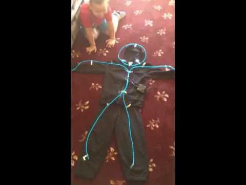 Glowy Zoey EL Wire Stickman Costume - YouTube