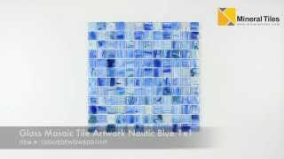 Glass Mosaic Tile Artwork Nautic Blue 1x1 - 120AVEDEWDWBDD11NT