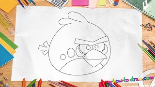 How to draw Angry Birds - Red Birds - Easy step-by-step drawing lessons for kids