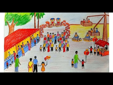 How to draw scenery of Pohela Boishakh / village fair step by step