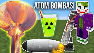 Minecraft ATOM BOMBASI MODU (Nükleer Bomba,Alev Silahı) - Rival Rebels Modu