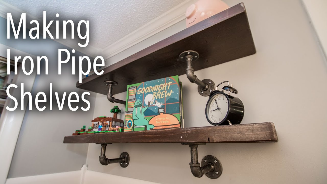 How To Make Industrial Iron Pipe Shelves - YouTube