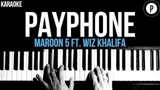 Maroon 5 - Payphone Ft. Wiz Khalifa Karaoke SLOWER Acoustic Piano Instrumental Cover Lyrics